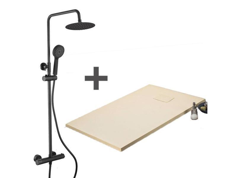 Pack receveur de douche 90 x 120 cm extra plat beige + colonne de douche thermostatique finition noir mat