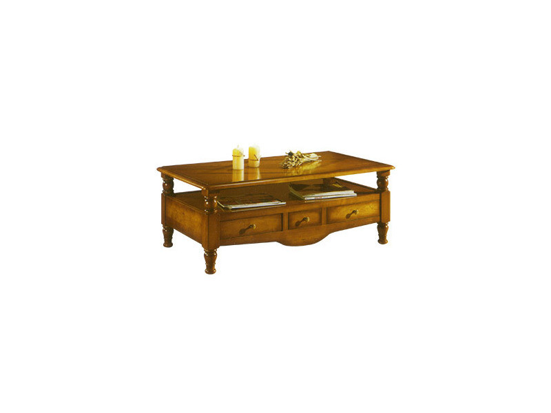 Table basse rectangulaire 3 tiroirs 1 niche en chêne massif