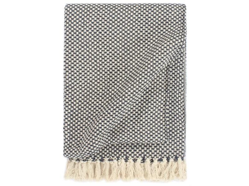 Inedit literie serie oulan-bator couverture en coton 220 x 250 cm bleu marine
