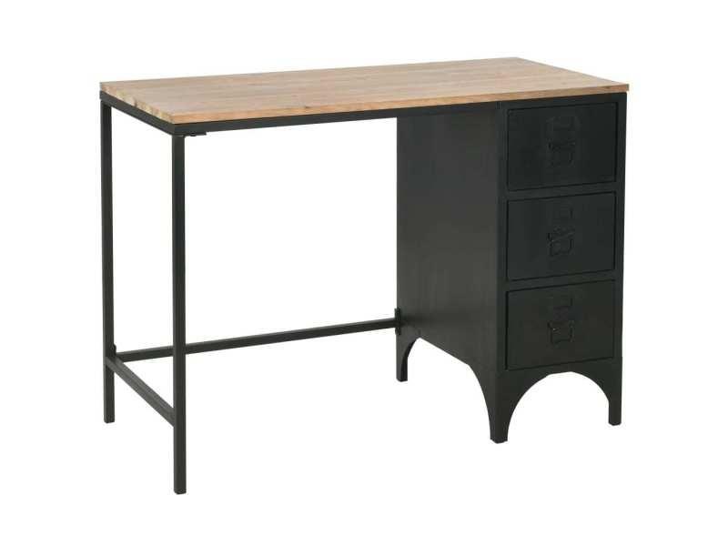 Vidaxl bureau à piédestal unique bois de sapin et acier 100x50x76 cm 246421