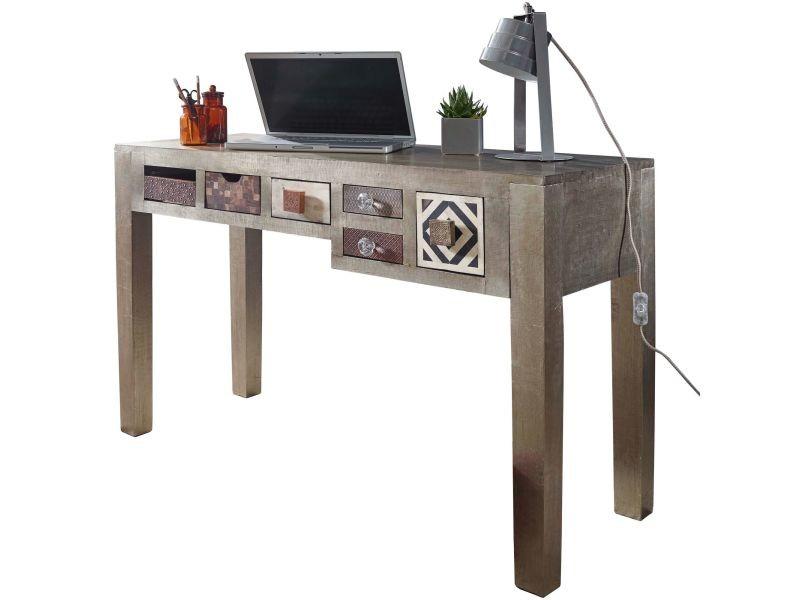 Bureau style vintage en bois massif de manguier avec 6 tiroirs