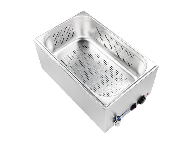 Bain-marie électrique professionnel bac avec trou avec robinet de vidange 1 200 watts helloshop26 3614104