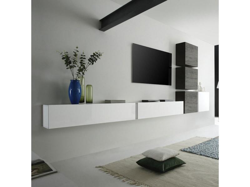 Carte Conforama Suspendu.Ensemble Meuble Tv Suspendu Blanc Laque Et Wenge Moderne