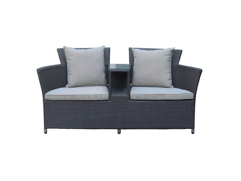 Canapé 2 places en résine tressée two - rotin design - Vente ...
