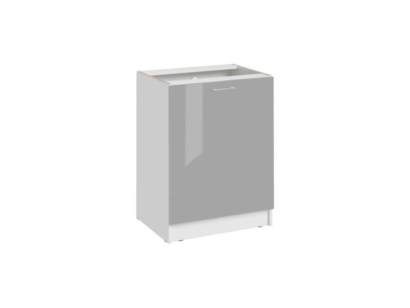 Façade de cuisine pour lave-vaisselle tout intégrable - l 59,6 cm - gris brillant