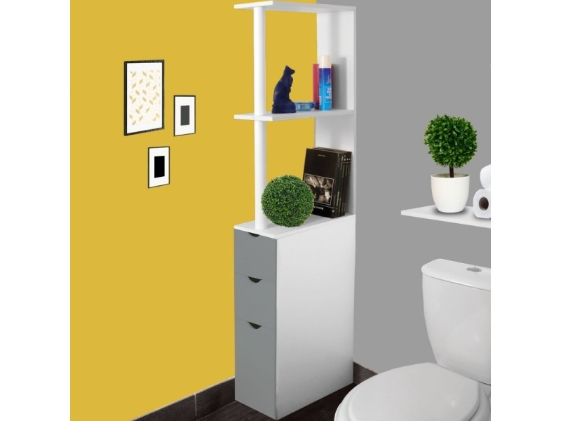 meuble wc tag re bois 3 portes blanc et gris gain de place pour toilettes vente de id market. Black Bedroom Furniture Sets. Home Design Ideas