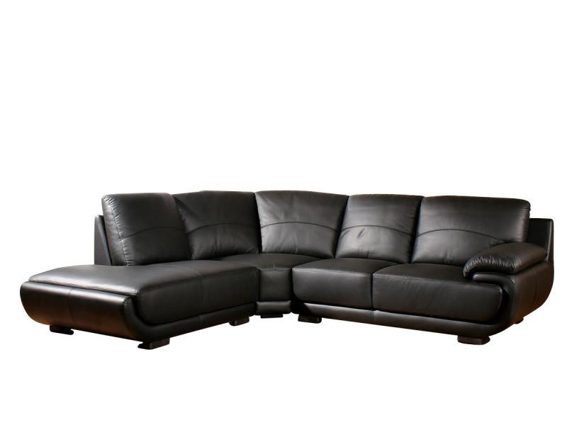 Canapé cuir angle mozart - gauche - noir