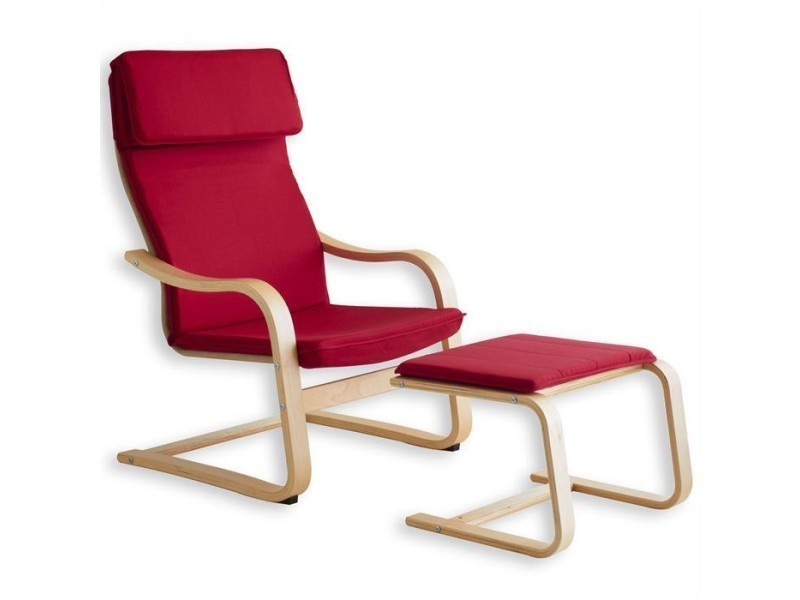 fauteuil avec repose pieds lina design rouge conforama. Black Bedroom Furniture Sets. Home Design Ideas