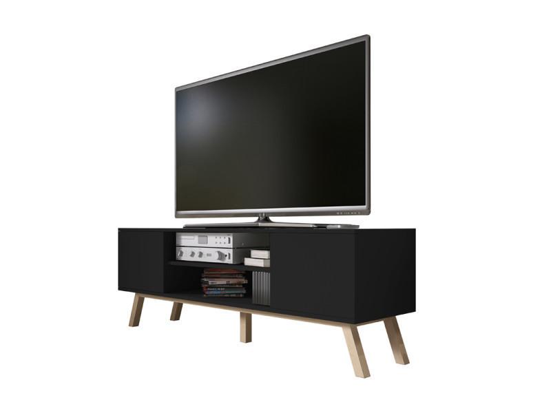 meilleur site web cfed4 8b935 Meuble tv - vero bois - 150 cm - noir mat - pieds de hêtre ...