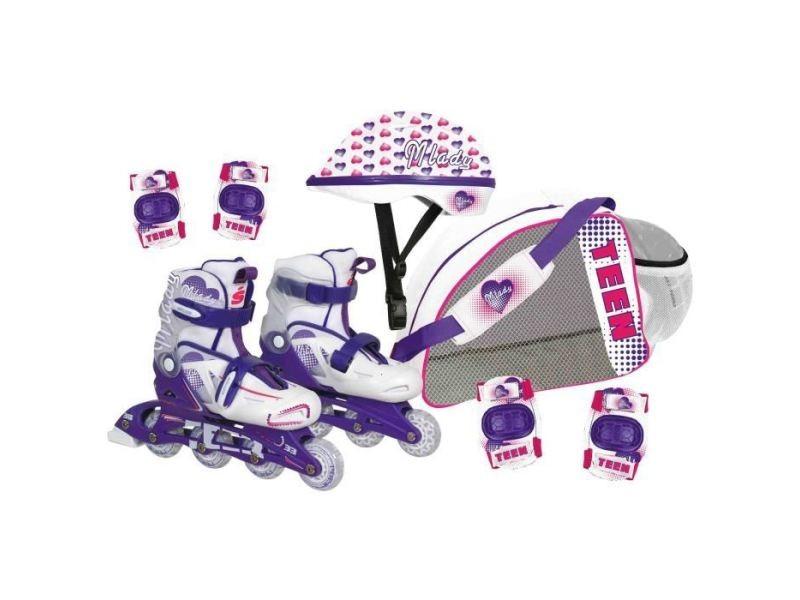 Roller in line cdts roller inline avec protection - réglable du 34 au 38 - evolutif - fille