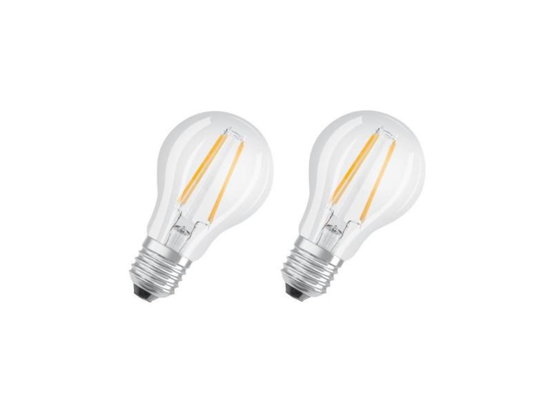 Osram lot de 2 ampoules led e27 standard claire 6w équivalent a 60w blanc chaud