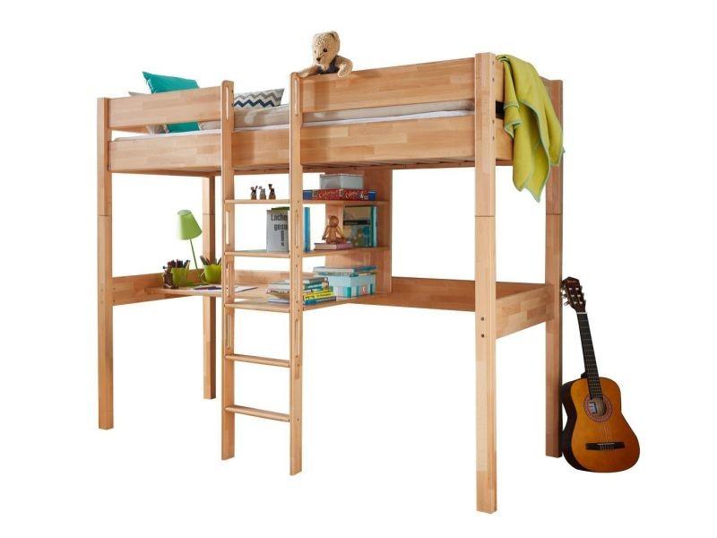 Lit mezzanine combiné cm avec bureau et étagères en hêtre