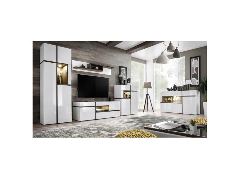 Ensemble mural meuble tv - cross - 4 éléments - blanc