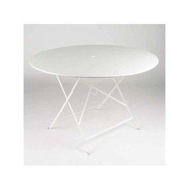 Table de jardin ronde pliante acier laqué bistro - Conforama