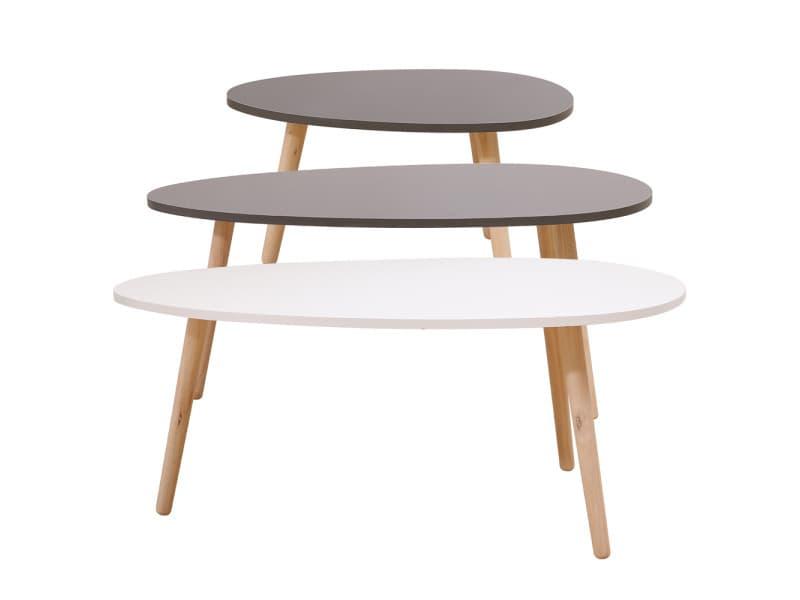 Lot de 3 tables basses gigognes hombuy laquées blanc / gris clair / gris foncé