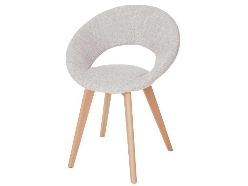 Chaise de salle à manger palermo iii, fauteuil, design rétro des années 50 ~ tissu, crème/gris