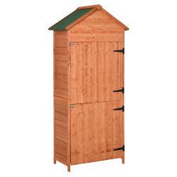 Armoire abri de jardin remise pour outils 3 étagères 2 portes loquets toit pente bitumé 89l x 50l x 190h cm pin massif 63