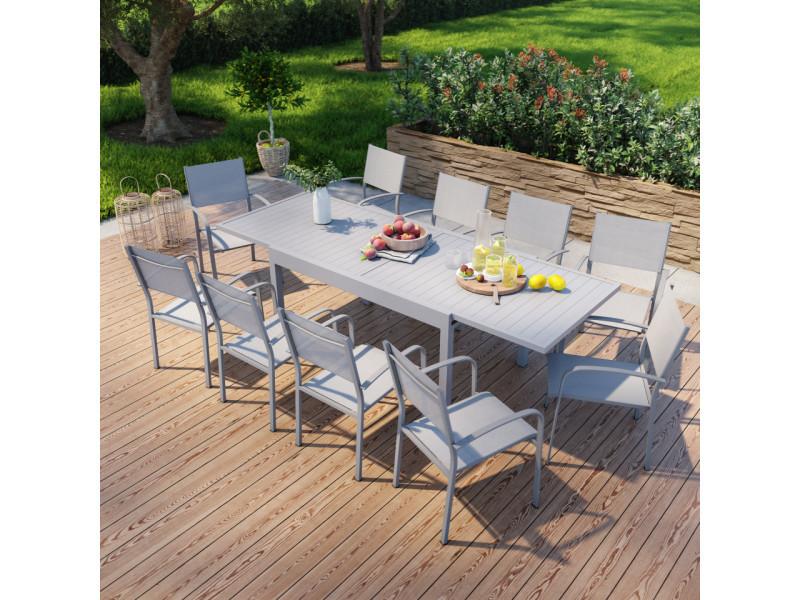 Table de jardin extensible en aluminium 270cm + 10 fauteuils empilables textilène gris - milo 10
