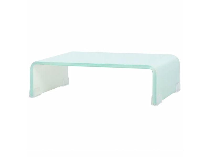 Meuble télé buffet tv télévision design pratique support pour moniteur 40 cm verre blanc helloshop26 2502227