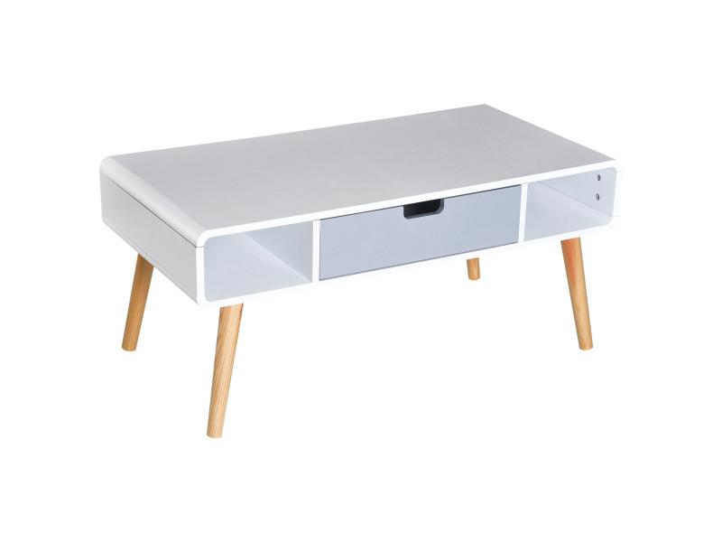 Table basse rectangulaire design scandinave 100l x 50l x 45h cm 2 niches + tiroir bois massif pin mdf blanc bleu gris