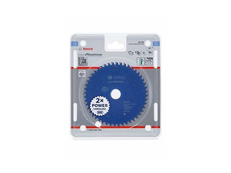 Bosch professional lame de scie circulaire expert pour aluminium (aluminium, 136 x 20 x 1,6 mm, 48 dents, accessoire scie circulaire sans fil) 2608644535