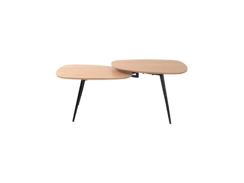 Closy tables basses 2 plateaux - chêne naturel / noir
