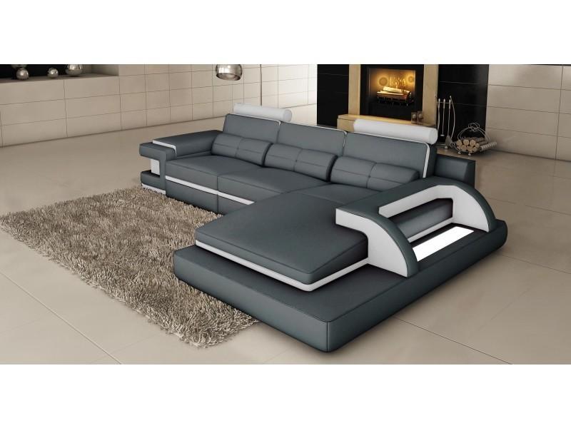 Canapé d'angle cuir gris et blanc design avec lumière ibiza (angle droit)-