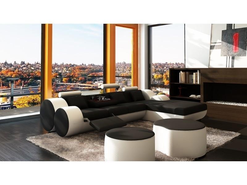 Canapé d'angle relax cuir noir et blanc rima-