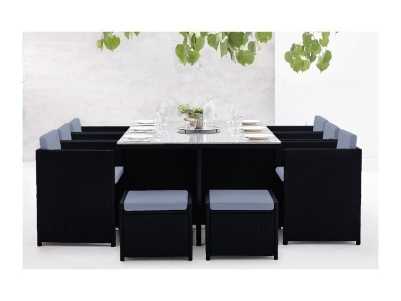 Salon de jardin family 10 noir/gris LSR-310-BK/GR 6C4Fbobochic ...