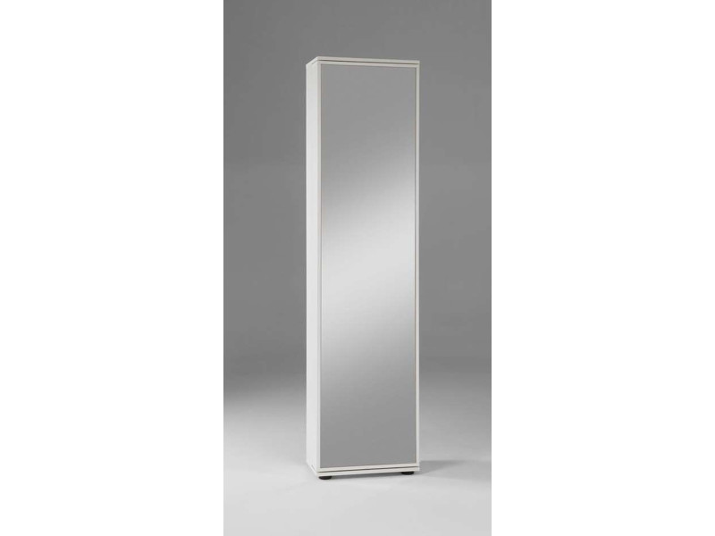 Armoire à chaussures avec porte miroir coloris blanc - dim : 47 x 190 x 29,5 cm -pegane-