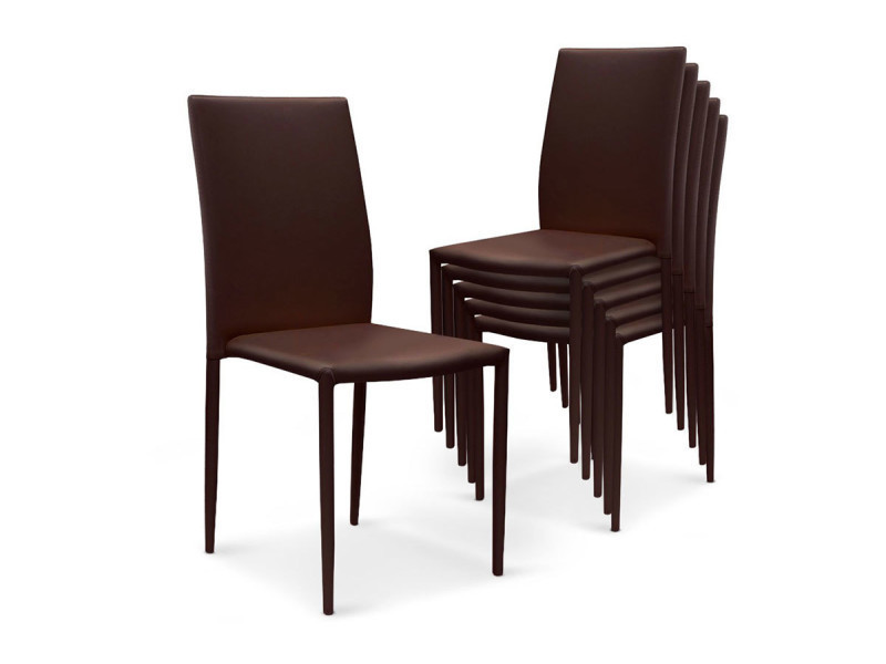 lot de 6 chaises en simili cuir marron boston vente de chaise conforama. Black Bedroom Furniture Sets. Home Design Ideas