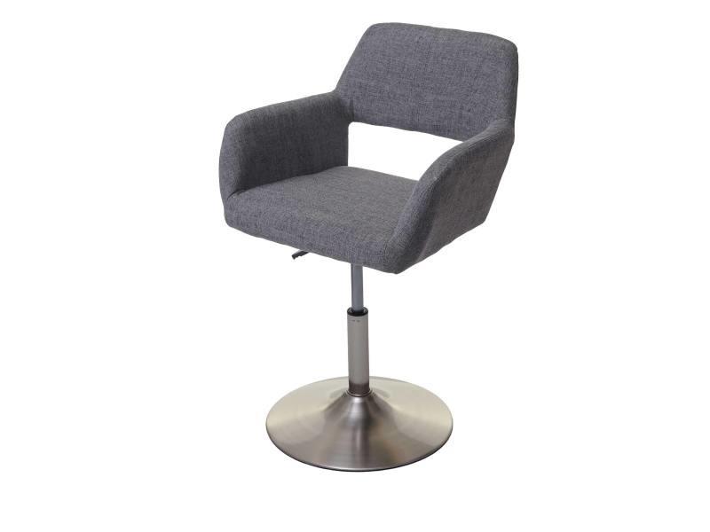 Chaise de salle à manger hwc-a50 iii, style rétro années 50, tissu ~ gris, pied en métal brossé