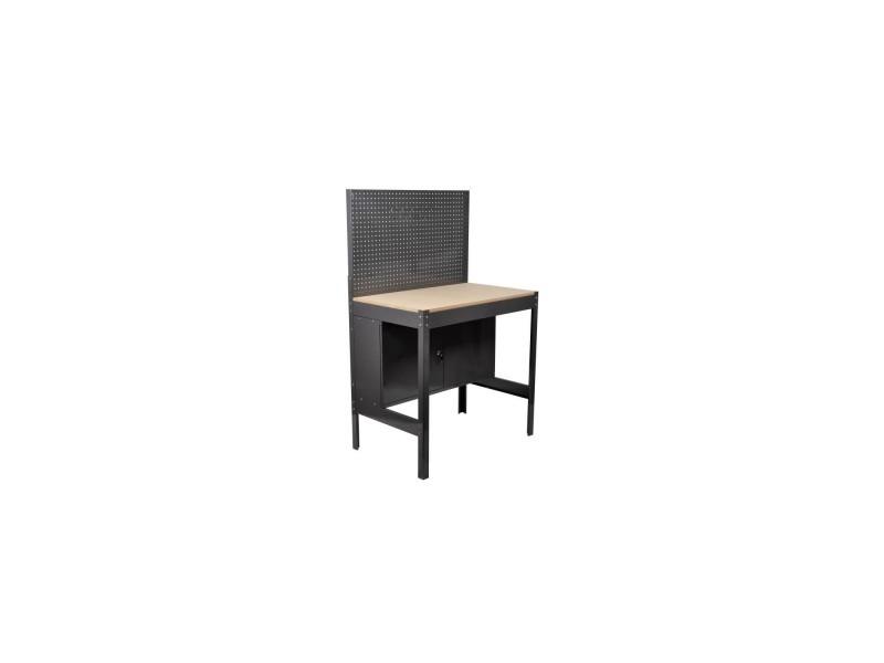 Manupro etabli datelier metallique et bois - 2 portes - panneau perfore - l.90 x p.60 x h.144 cm MPETA29T144