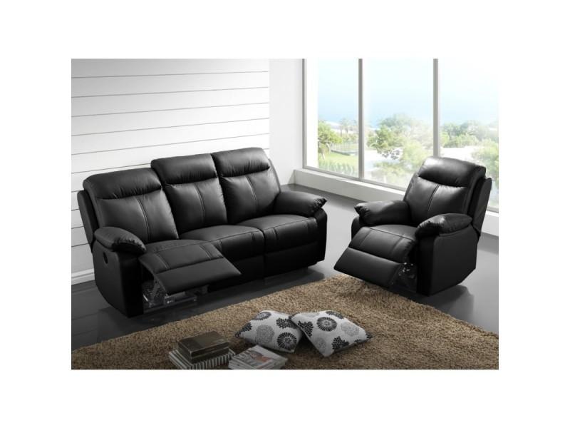 Canapé 3p relax + fauteuil électrique cuir noir - vyctoire - l 201 x l 95 x h 101 - neuf