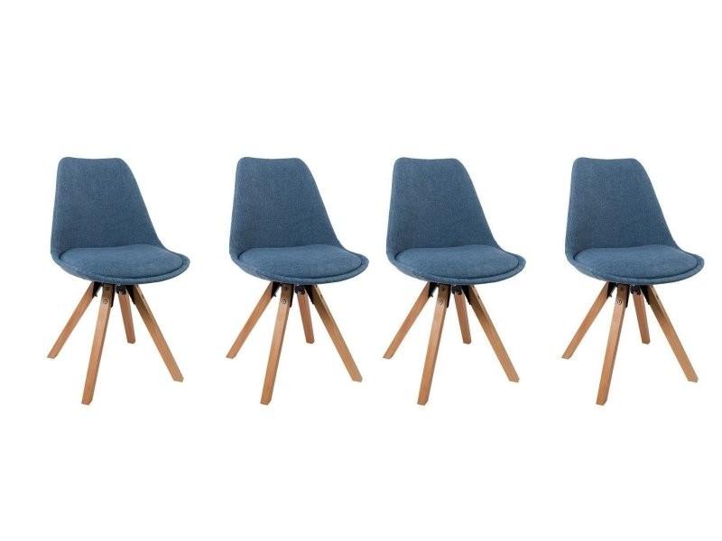Lot de 4 chaises de salle à manger scandinave en tissu bleu pieds en bois  cds09142 - Vente de Chaise - Conforama e8703d8145d6