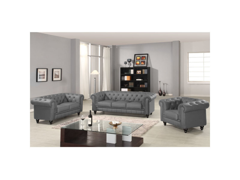 canap 3 places chesterfield gris vente de menzzo premium conforama. Black Bedroom Furniture Sets. Home Design Ideas