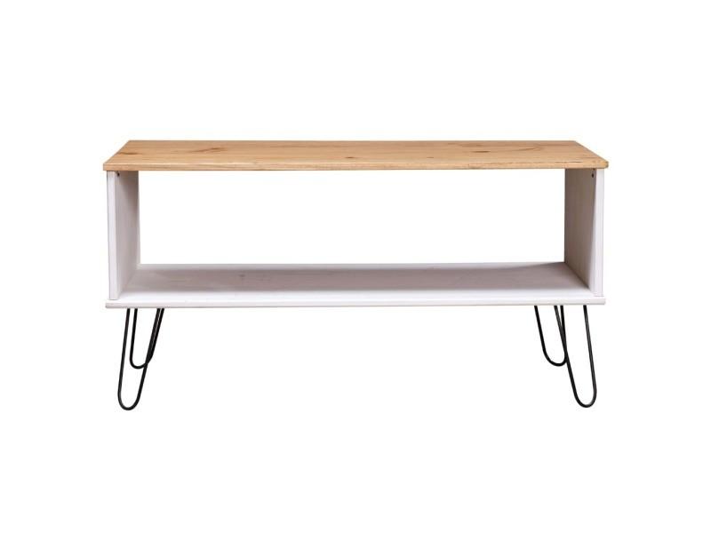 Vidaxl table basse new york range blanc/bois clair bois de pin massif 321151