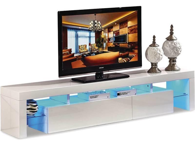 Meuble Tv Led Tina 188 X 34 X 38 Cm Blanc Laqué Vente De