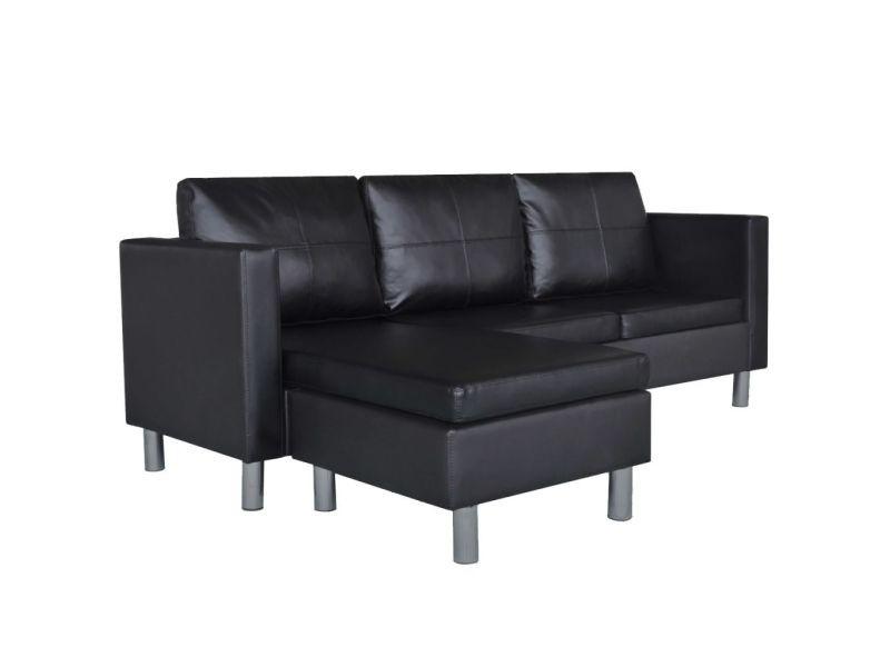 Vidaxl canapé sectionnel à 3 places cuir synthétique noir 241979