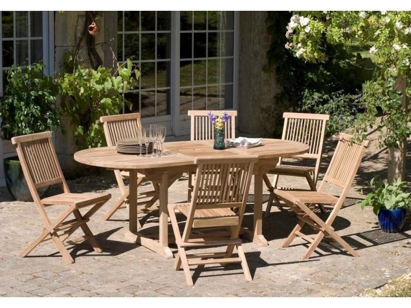 Salon de jardin en teck avec 1 table extensible ovale et 6 ...