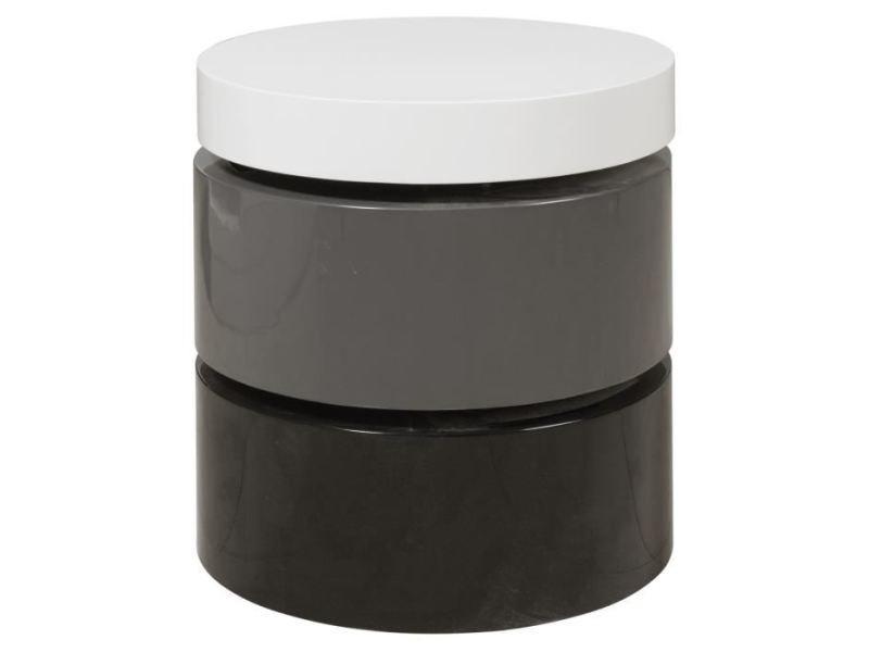 Table basse vigan table basse ronde style contemporain noir, gris et blanc mat - l 50 x l 50 cm