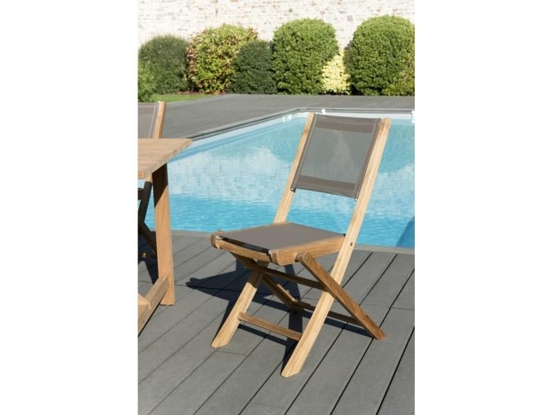 Ensemble de 2 chaises de jardin pliantes en bois teck et textilène couleur taupe.