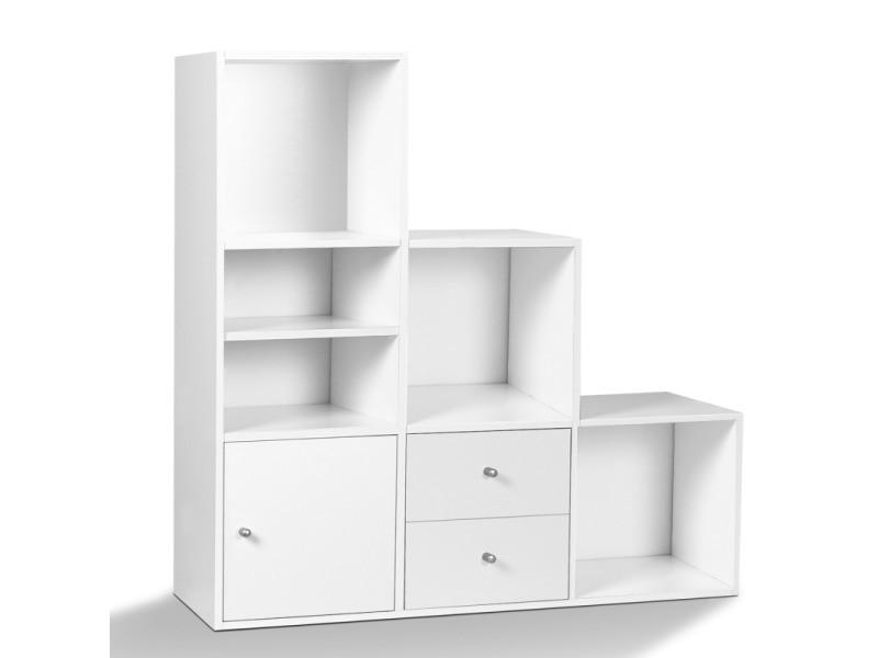 Meuble de rangement escalier 3 niveaux bois blanc avec porte et tiroirs - Vente de ID MARKET ...