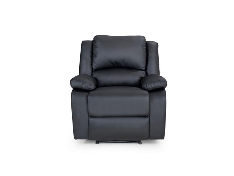 Fauteuil relaxation 1 place simili cuir detente - couleur - noir 9121NOIR1