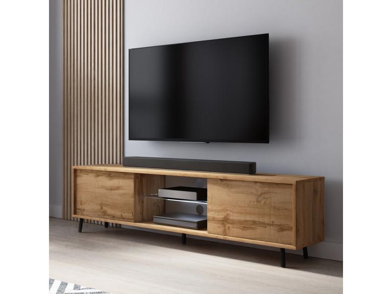 Meuble Tv Lefyr 140 Cm Chene Wotan Eclairage Led Vente De Meuble Tv Conforama
