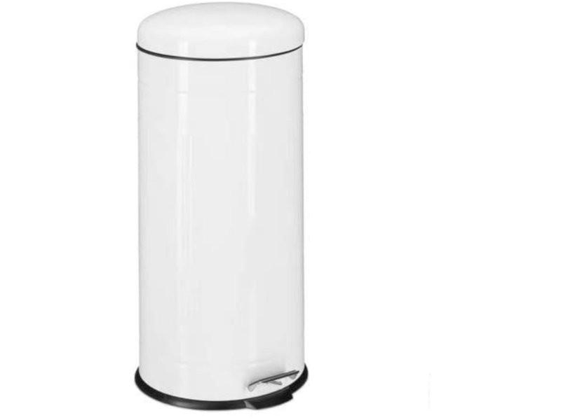 Poubelle à pédale acier inoxydable seau intérieur 30 litres blanc helloshop26 13_0002316_2