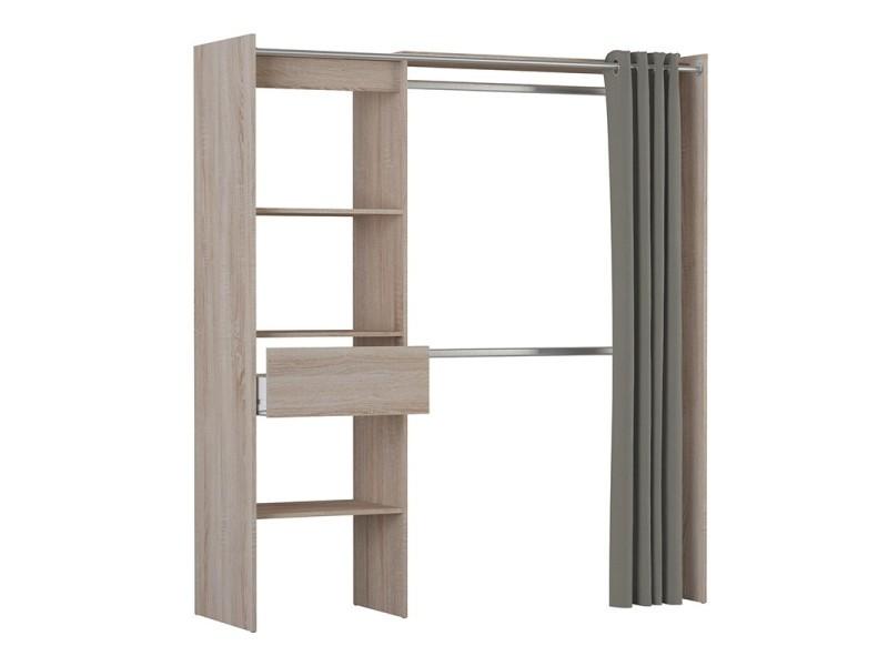 Armoire/placard extensible avec rideau chêne brossé - Vente de ...