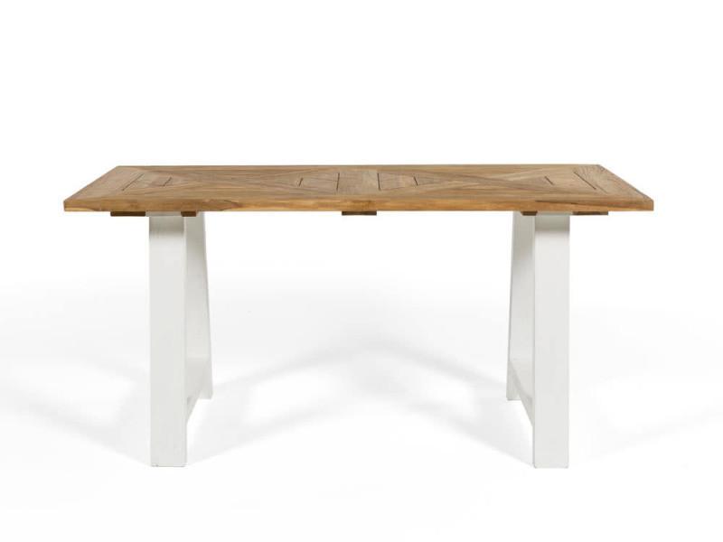 Table à Manger En Teck Recyclé Avec Pieds Type Tréteau L160