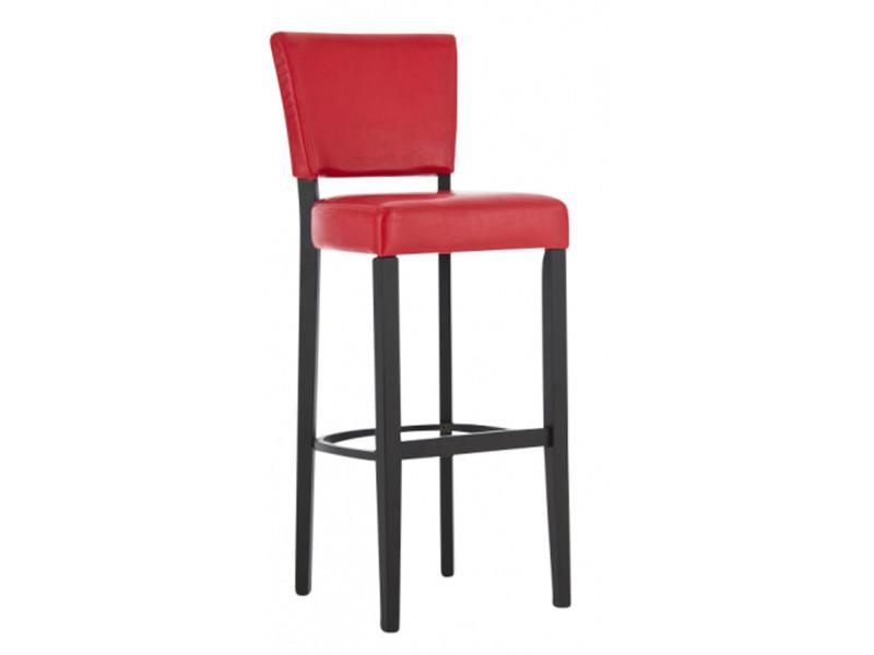 Chaise de bar en bois et polyuréthane de couleur rouge - dim : h 112 x l 46 x p 44 cm -pegane-