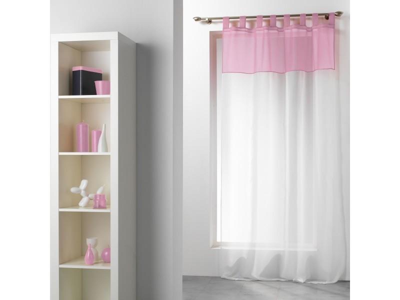un panneau voilage passant 140 x 240 cm bicolore blanc rose dragee vente de rideau voilage. Black Bedroom Furniture Sets. Home Design Ideas